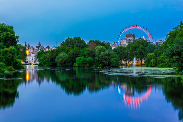 St James Park i London er omgitt av tre palasser